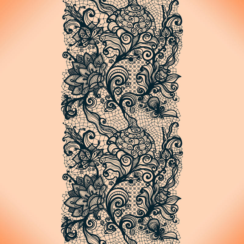 Abstract lace ribbon vertical seamless pattern. royalty free illustration