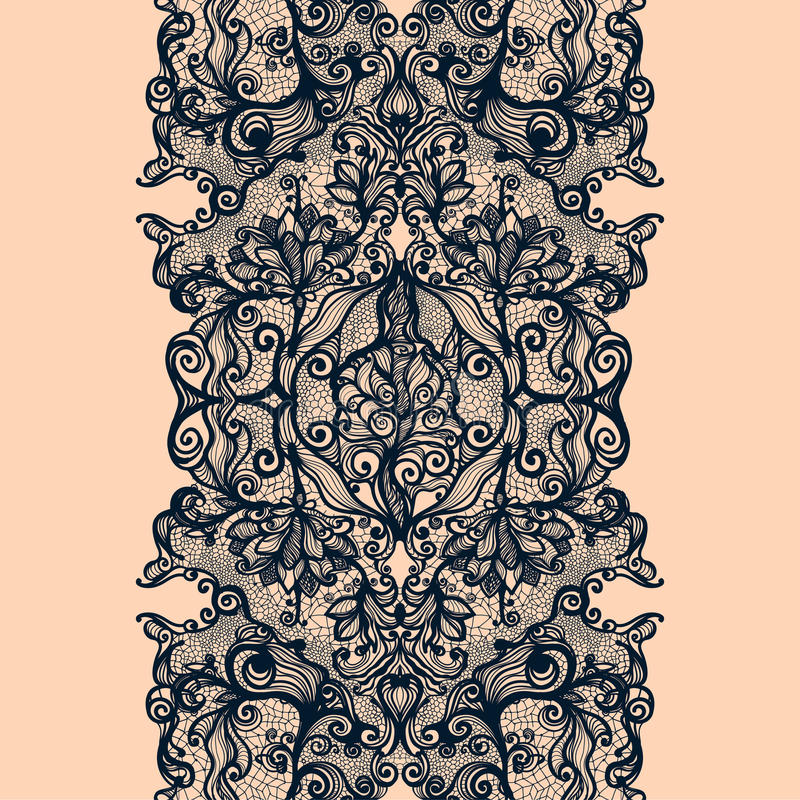 Abstract lace ribbon vertical seamless pattern vector illustration