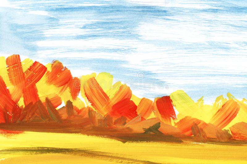 Abstract landscape. Autumn forest under blue sky and fields royalty free illustration