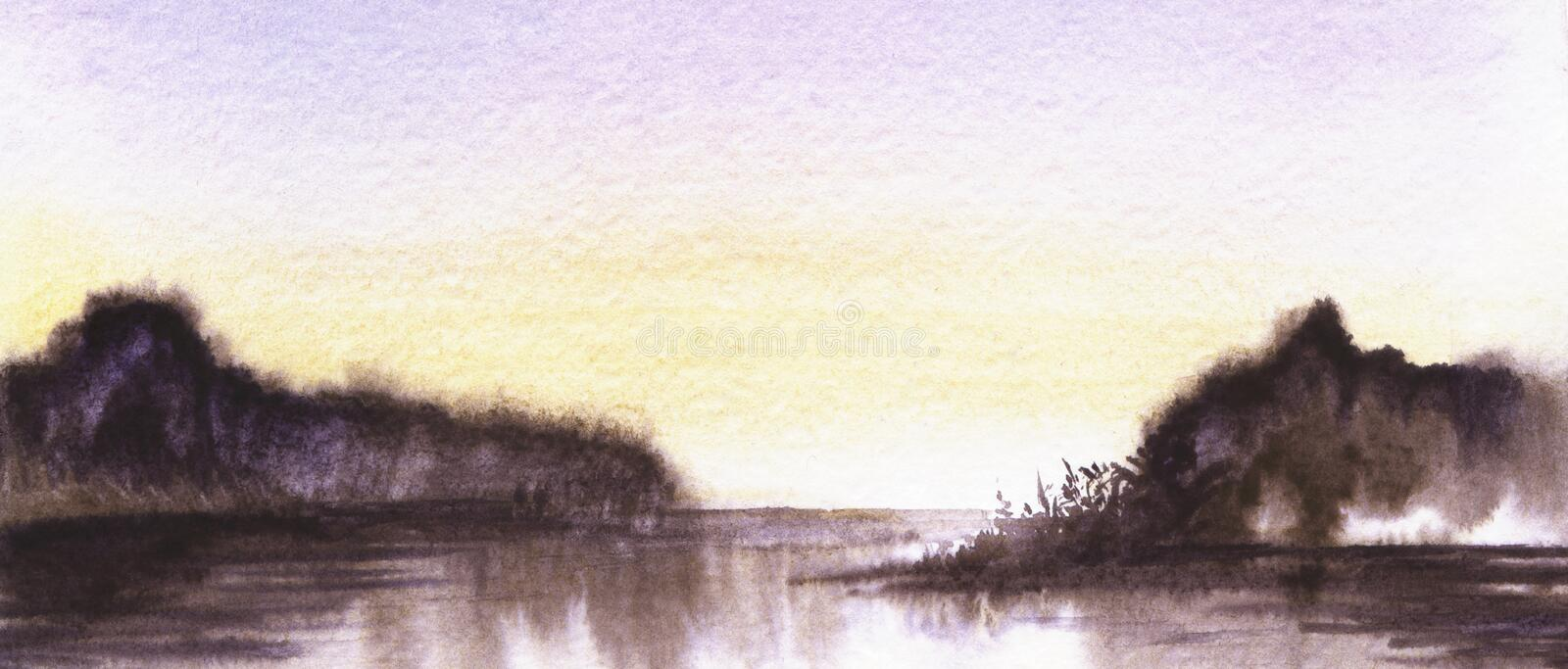 Abstract landscape background. Boundless horizon of dark water with two blurred gloomy land plots beneath dusk sky. Reflecting in smooth surface. Hand drawn by stock illustration