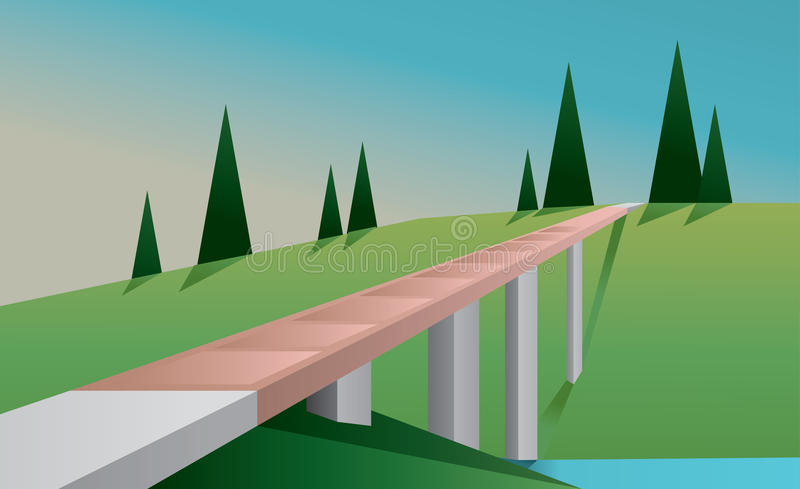 Abstract landscape with a bridge, a river, trees and green fields, flat style. Digital vector image vector illustration