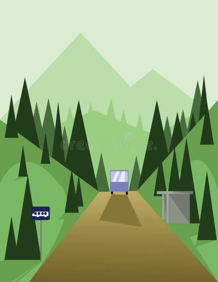 Abstract landscape design with green trees and hills, a brown road and view to mountains with a bus at a station, flat style stock illustration