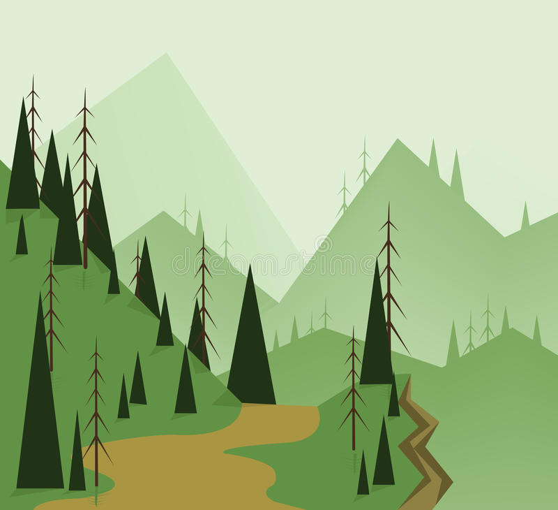 Abstract landscape design with green trees, hills, road and a chasm, flat style. Digital vector image vector illustration