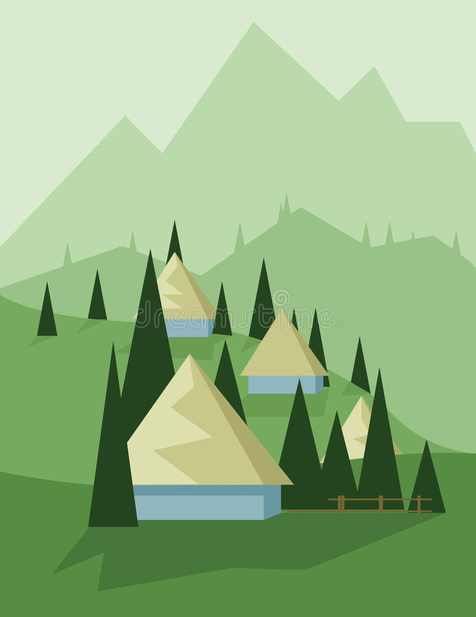 Abstract landscape design with green trees and hills, yellow houses in the mountains, flat style. Digital vector image vector illustration