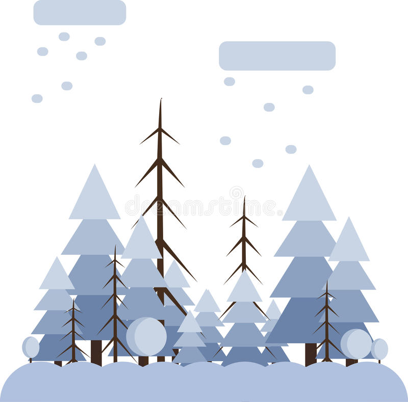 Abstract landscape design with white trees and clouds, snowing in a forest in winter, flat style. Digital vector image royalty free illustration