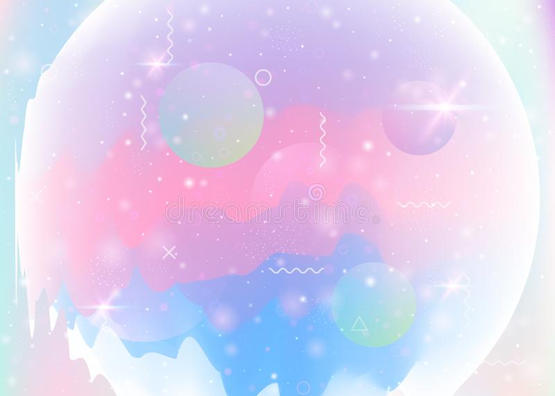 Abstract landscape with holographic cosmos and future universe b vector illustration