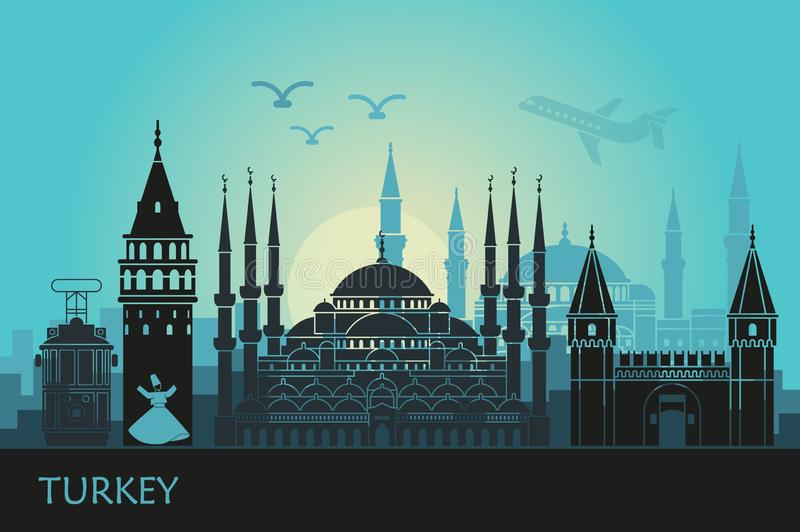 Abstract landscape of Istanbul with the main sights stock illustration