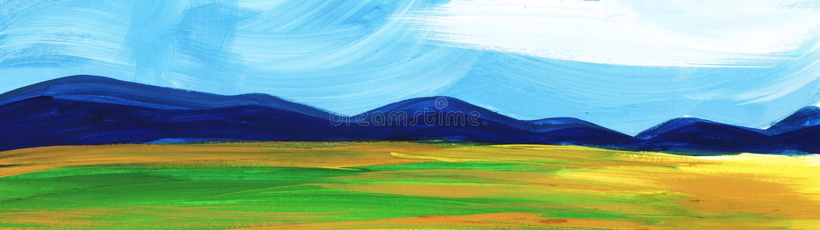 Abstract landscape. Mountains forest under blue sky and fields. Abstract landscape. Mountains Autumn forest under blue sky and fields stock photos