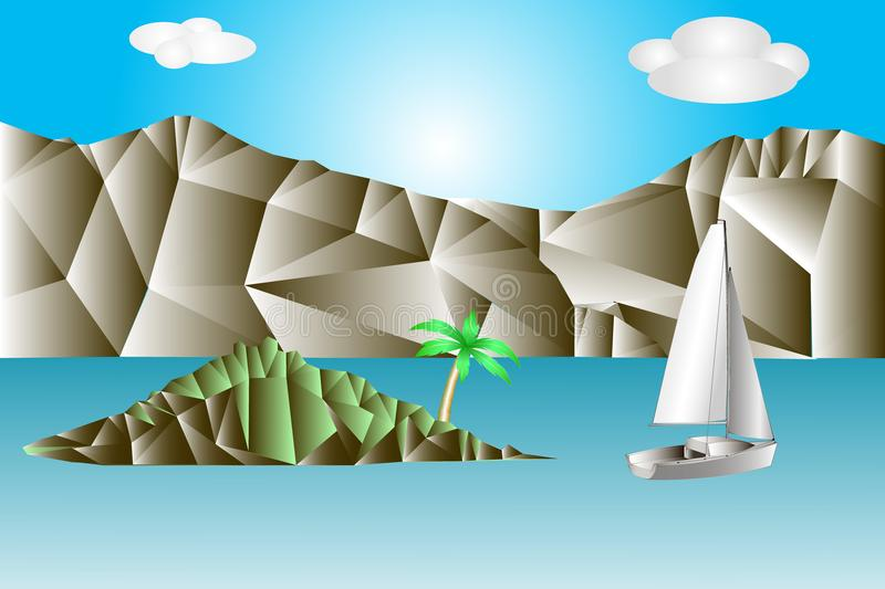 Abstract landscape with sea, rocks, green island with palm tree and white sailing yacht. Miniature in a mosaic style. vector illustration