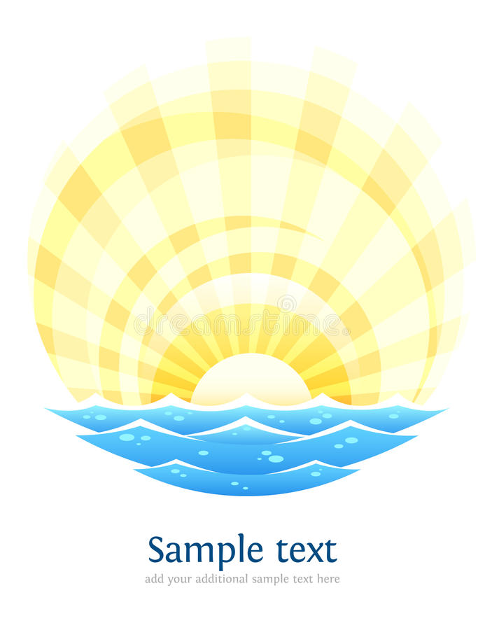 Abstract landscape with sea waves and rising sun vector illustration