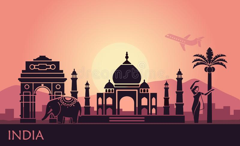 Abstract landscape with the sights of India and a dancing woman. Abstract landscape with sights of India at sunrise vector illustration
