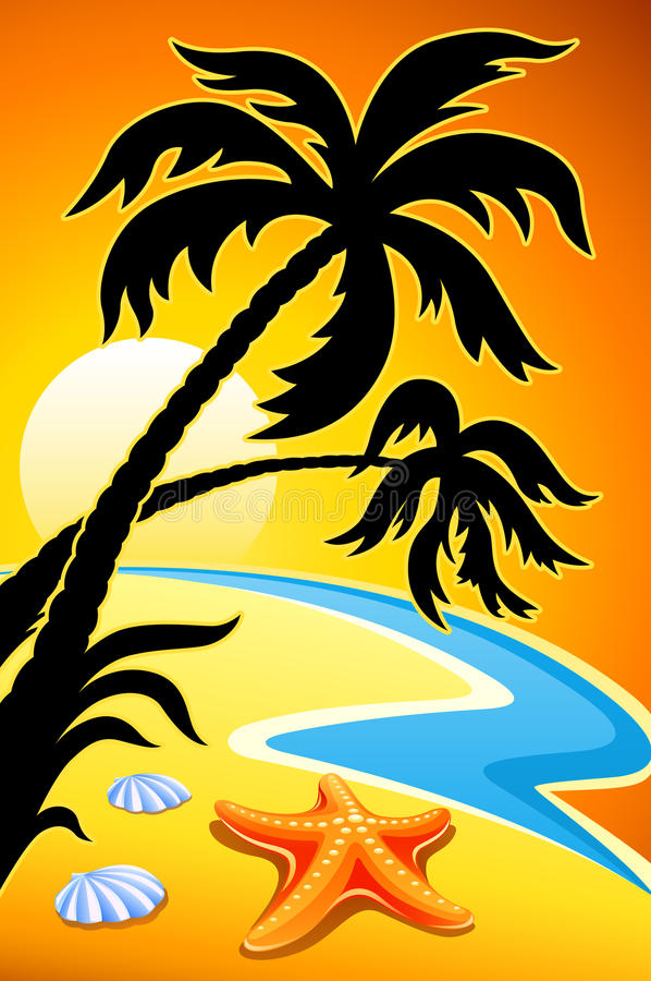 Abstract landscape with sunset palm and sea star vector illustration