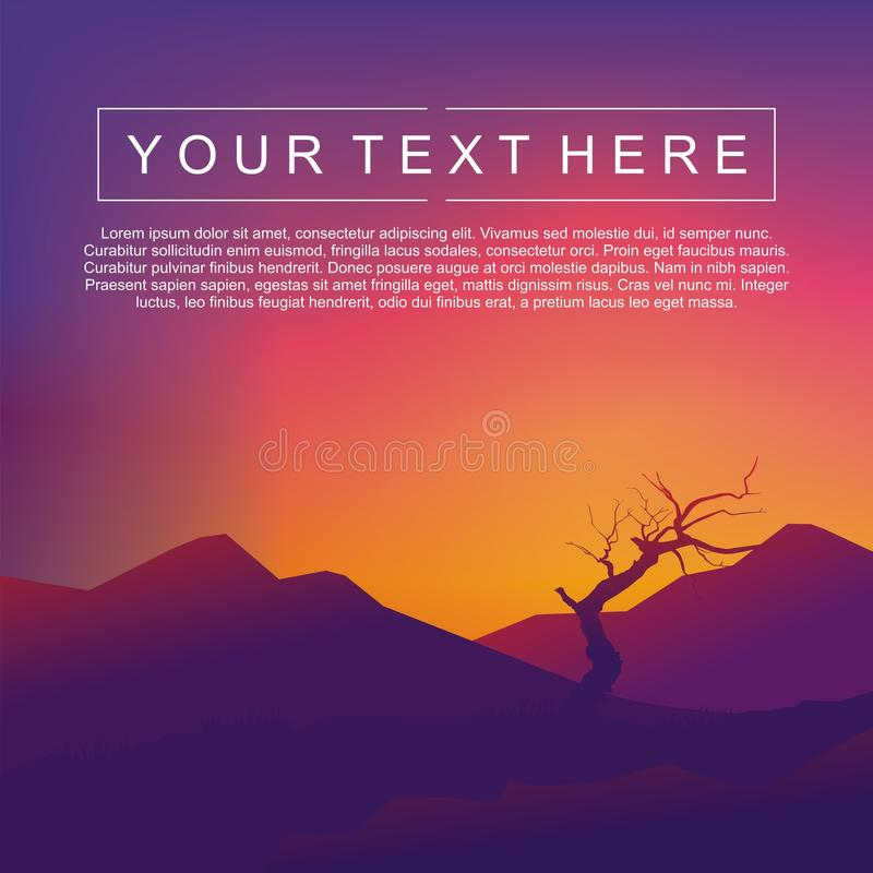Abstract Landscape Vector With Bright Gradient Colors. Sunset Vector stock illustration