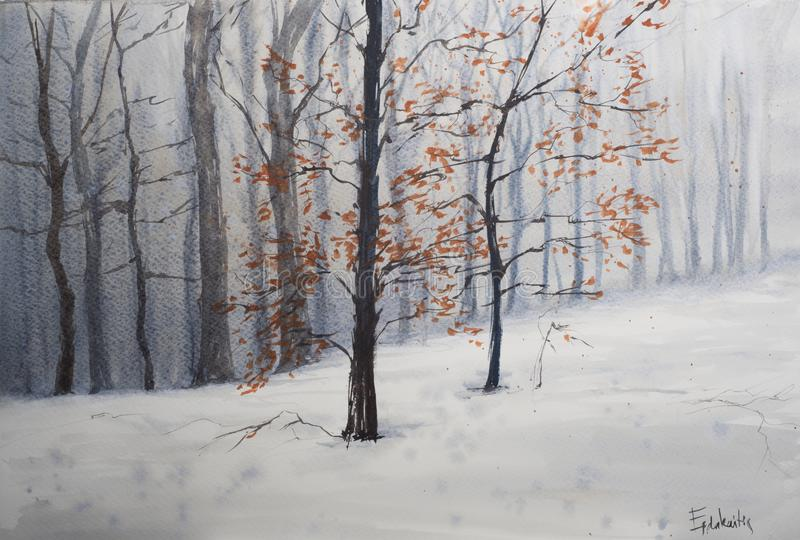 Abstract winter forest landscape stock photography