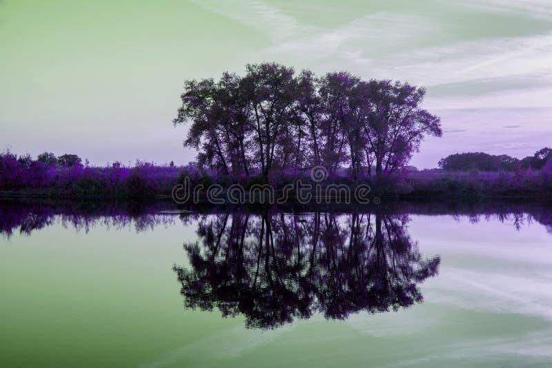 Abstract landschap Fantastisch landschap Een andere werkelijkheid stock foto