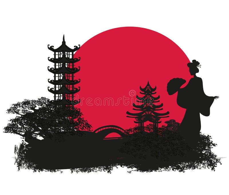 abstract landschap met Aziatisch meisje royalty-vrije illustratie