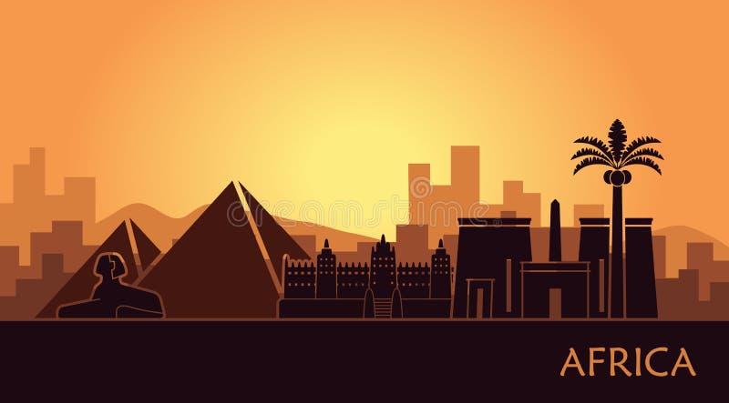 Abstract landschap met de gezichten van Afrika bij zonsondergang stock illustratie
