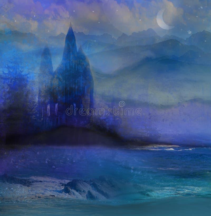 Abstract landschap met oud kasteel royalty-vrije illustratie
