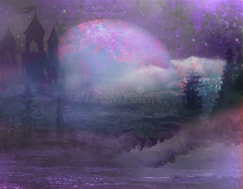 Abstract landschap met oude kasteel en maan stock illustratie
