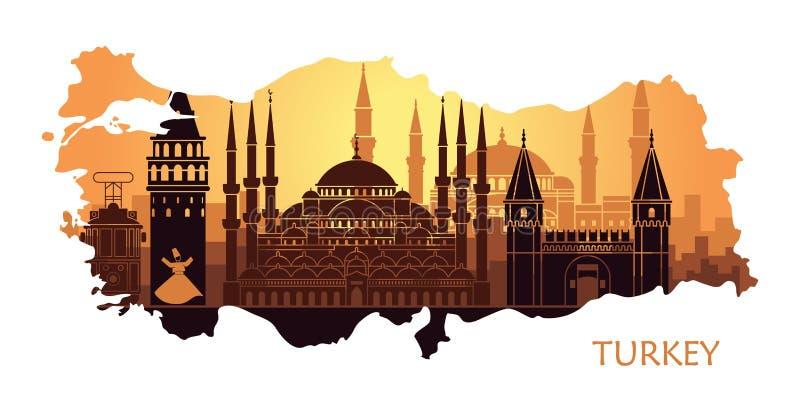Abstract landschap van Istanboel met de belangrijkste gezichten in de vorm van een kaart van Turkije royalty-vrije illustratie