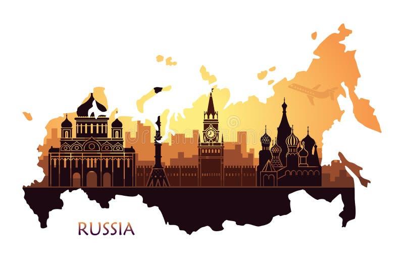 Abstract landschap van Moskou met gezichten bij zonsondergang in de vorm van een kaart van Rusland royalty-vrije illustratie