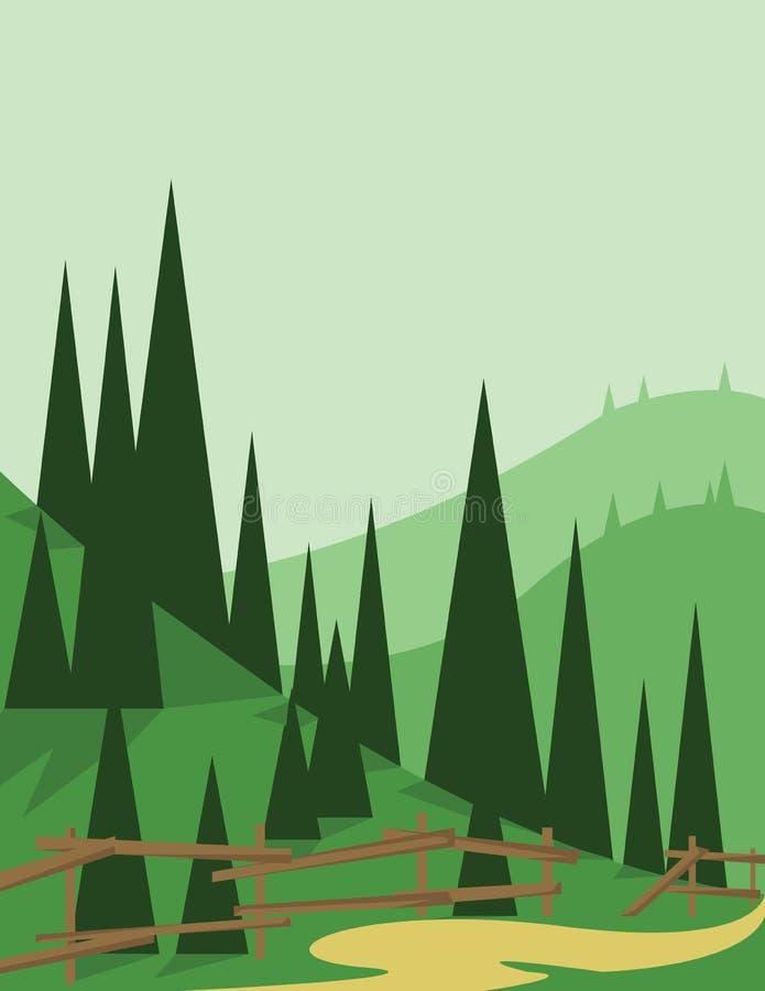Abstract landschapsontwerp met groene bomen en heuvels, een weg en een houten omheining, vlakke stijl stock illustratie