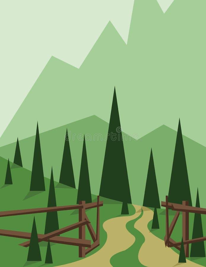 Abstract landschapsontwerp met groene bomen en heuvels, een weg en een houten omheining, vlakke stijl royalty-vrije illustratie