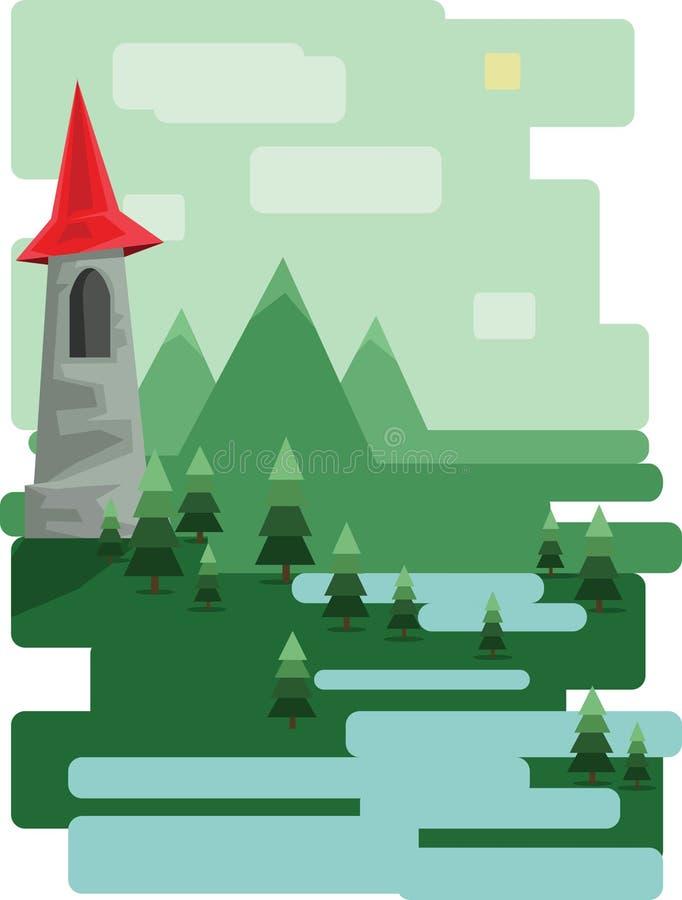 Abstract landschapsontwerp met groene bomen en wolken, een kasteel in de bergen en een meer, vlakke stijl vector illustratie