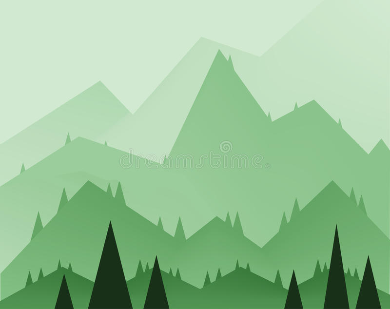 Abstract landschapsontwerp met groene bomen, heuvels en mist, vlakke stijl stock illustratie