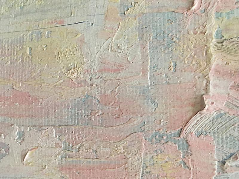 Abstract large strokes of oil paint pastel shades on canvas. Abstract beautiful large strokes of oil paint delicate pastel shades on canvas royalty free stock photo