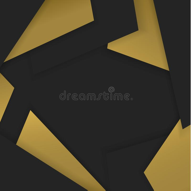 Abstract layered black and gold colors square background vector illustration