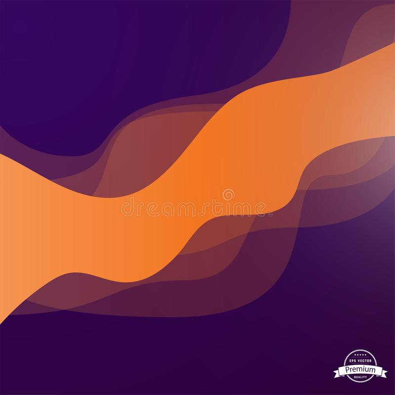 Abstract Layered Wave Design. Wave shapes colored purple and orange royalty free illustration