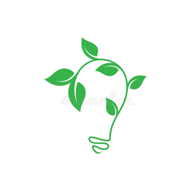 Abstract leaf growth symbol design vector shaped bulb on white background. Vector concept design ecology. Vector illustration EPS.8 EPS.10 stock illustration