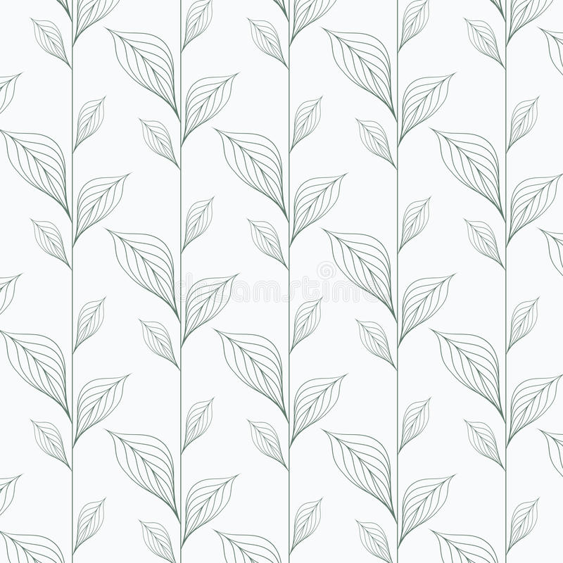 Abstract leaf vector pattern, repeating linear leaves, flower, skeleton leaves, grass. stock illustration