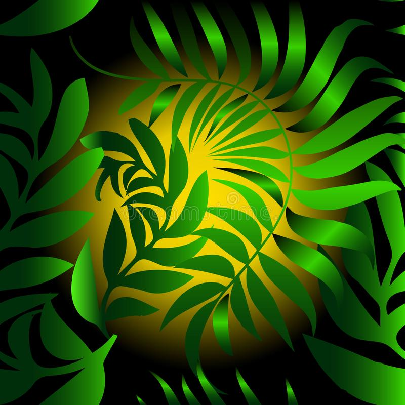 Abstract leafy vector seamless pattern. Green leaves background royalty free illustration