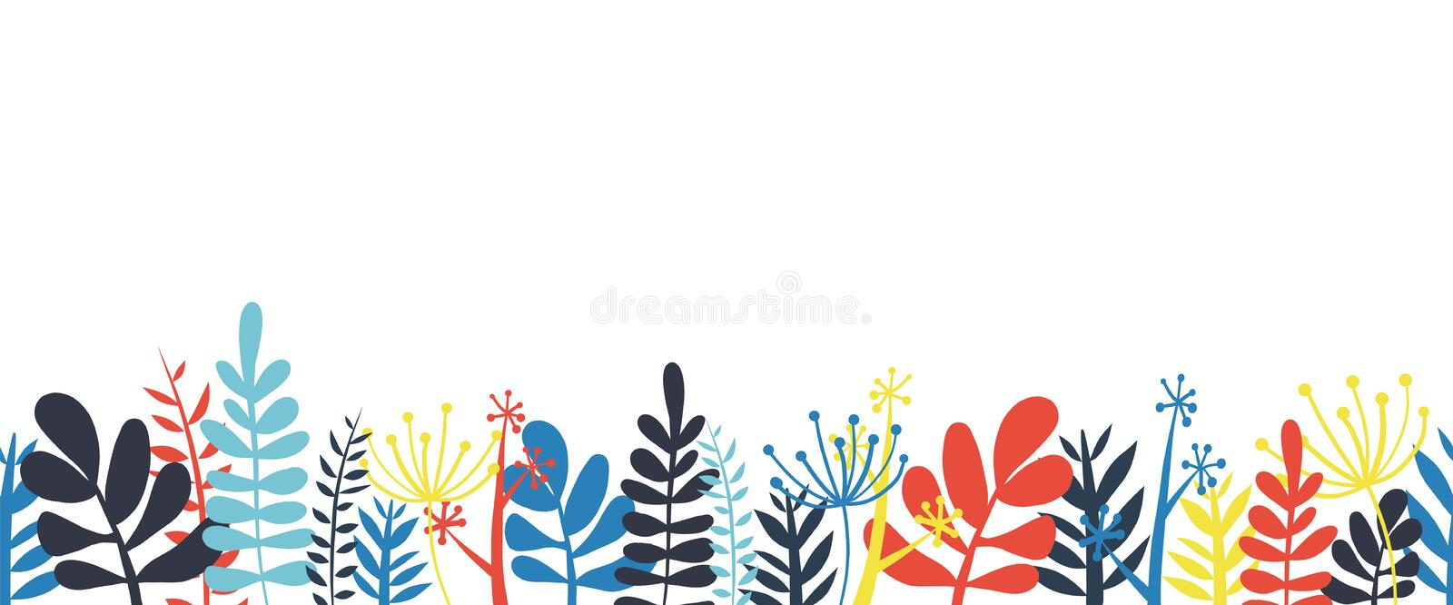 Abstract leaves border frame bottom horizontal seamless vector illustration. Abstract flowers, leaves and stems stock illustration