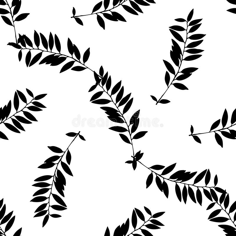 Hand drawn black and white leaf silhouettes seamless pattern stock illustration