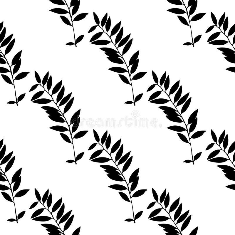Abstract leaves seamless pattern. Hand drawn leaf silhouettes with scribble textures. stock illustration
