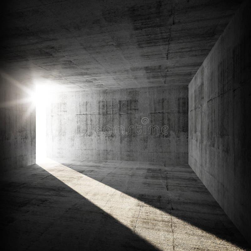 Abstract leeg donker concreet binnenland met licht stock illustratie