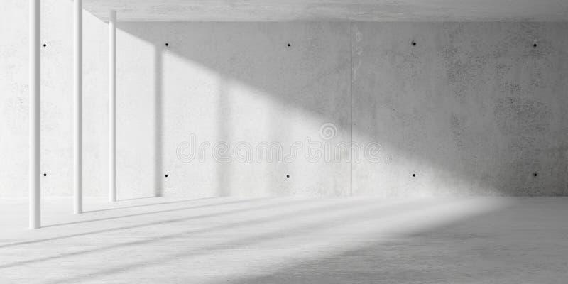 Abstract lege, moderne betonruimte met zonlicht van zijwand - industrieel achtergrondsjabloon voor interieur, 3D stock illustratie