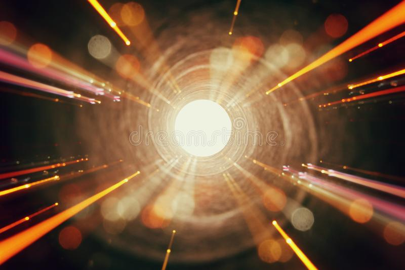 Abstract lens flare. concept image of space or time travel background over dark colors and bright lights stock photography