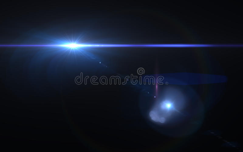 Abstract lens flare effect in space with horizontal black background stock illustration