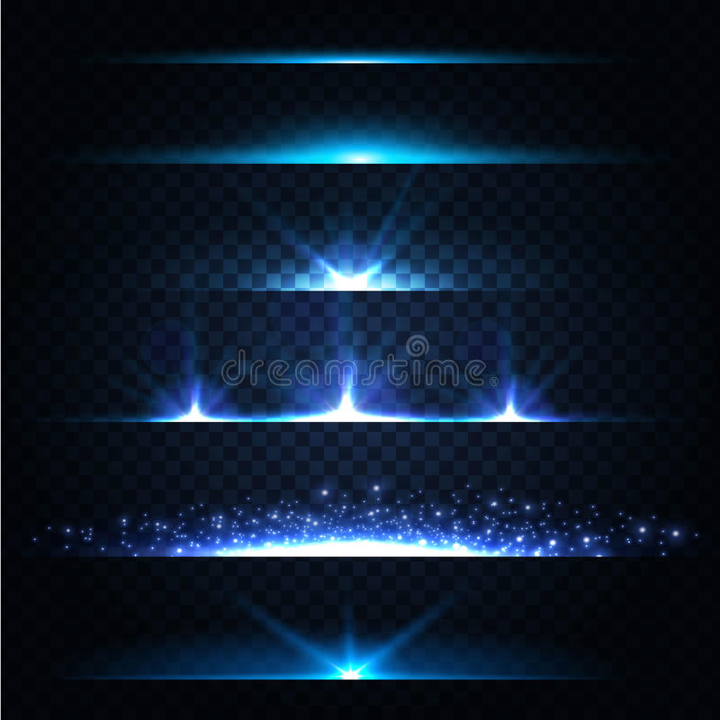 Abstract Lens Flares Collection. Glowing stars. Lights and Sparkles on Transparent Background. Shining borders. Vector royalty free illustration