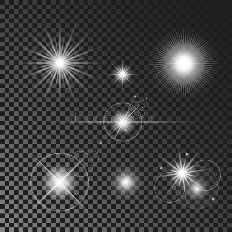 Abstract Lens Flares Set. Glowing stars. Explosion Lights on Transparent Background. Shining borders. Vector EPS 10 Illustration. vector illustration