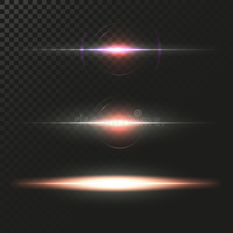 Abstract Lens Flares Set. Glowing stars. Explosion Lights on Transparent Background. Shining borders. Vector EPS 10 Illustration. royalty free illustration