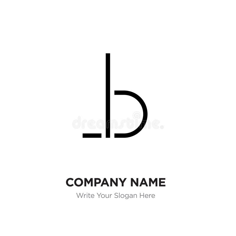 Abstract letter BL,LB logo design template, Black Alphabet initial letters company name concept. Flat thin line segments. Connected to each other stock illustration