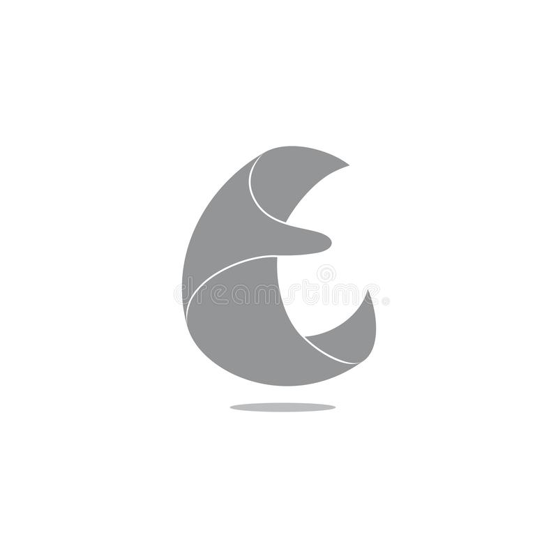 Abstract letter c 3d paper fly motion logo vector stock illustration