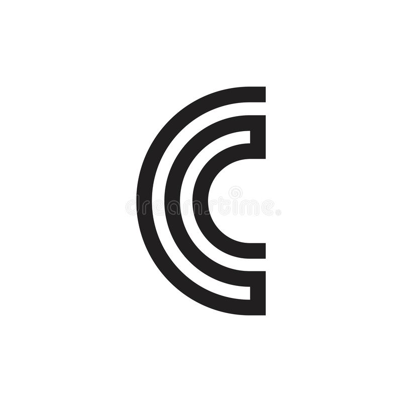 Abstract letter cc linked curves geometric line logo vector illustration