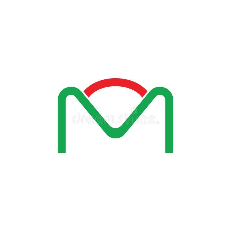 Abstract letter m hills sun line logo simple design royalty free illustration