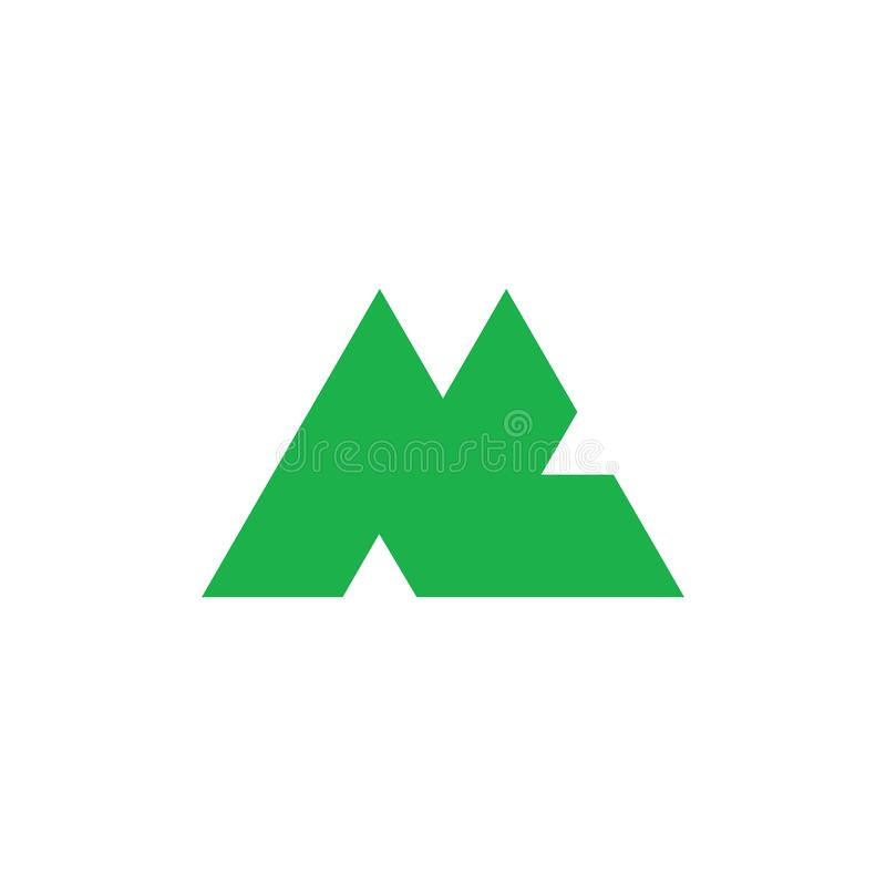 Abstract letter mc triangle mountain logo vector royalty free illustration